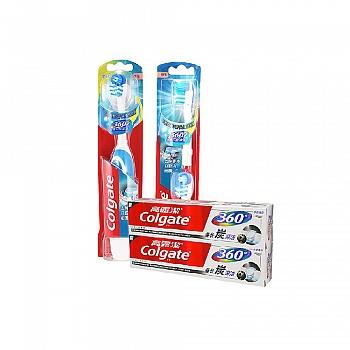 高露洁(Colgate)360全面口腔清洁 电动牙刷套装(电动牙刷*1+替换刷头2支装*1)送备长炭牙膏40g*2