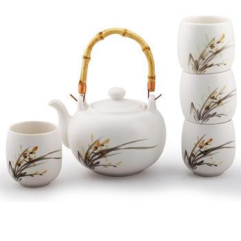 多样屋 水墨兰花骨瓷茶具组礼盒