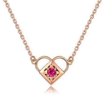 今上珠宝 玫瑰金色18K金项链红碧玺心形吊坠套链