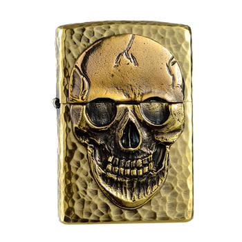 zippo打火机纯铜龟裂骷髅十字骨