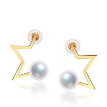 阿梵尼 18K金珍珠五角星耳钉