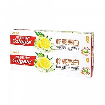 高露洁(Colgate)柠爽亮白牙膏180g*2(清润透爽,自然亮白)