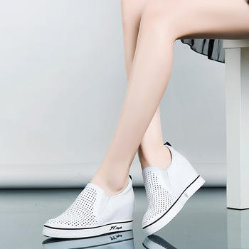 艾米奇牛皮镂空透气内增高单鞋