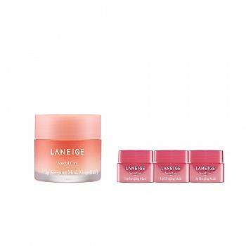 韩国•兰芝(LANEIGE)夜间保湿修护唇膜 西柚4件套组