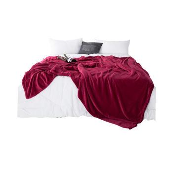 明瑟mingse素色?#29992;?#27861;兰绒毛毯