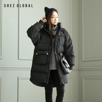 Shezglobal韩国冬款黑色宽松连帽棉服女中长款面包服