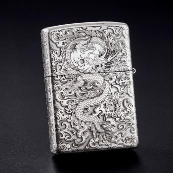 Zippo999纯银纯银五面雕刻腾云祥龙