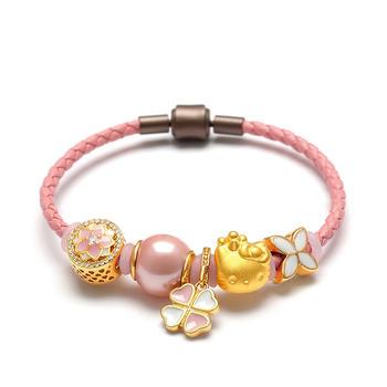 今上珠宝 3D硬金猫转运珠黄金手链
