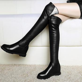 加绒棉靴平底过膝长靴内增高女靴