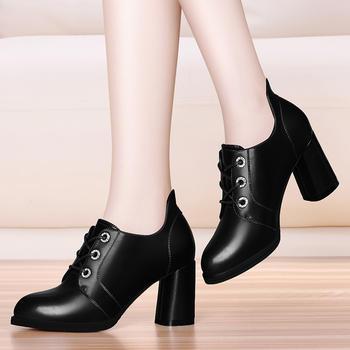 圆头防水台女鞋粗跟时尚高跟鞋子
