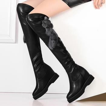 内增高侧拉链女过膝靴百搭骑士靴