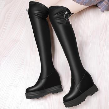过膝内增高厚底长靴女弹力高筒靴
