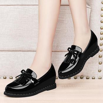 平底单鞋内增高女鞋韩版小皮鞋