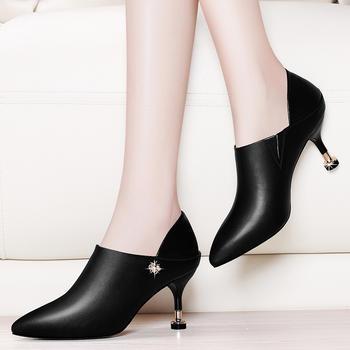 韩版猫跟单鞋百搭细跟尖头女鞋子