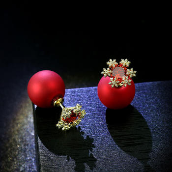 戴拉  S925银针雪花红球两戴法耳环