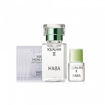 HABA 鲨烷精纯美容油II(鲨烷精纯美容油II 15ml+鲨烷精纯美容油II 4ml+鲨烷保湿洁面乳 1.5g*4) 6件套组