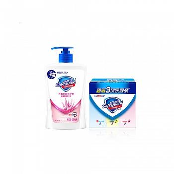 舒肤佳芦荟柔肤呵护型健康洗手液450ML+舒肤佳超值3块家庭装