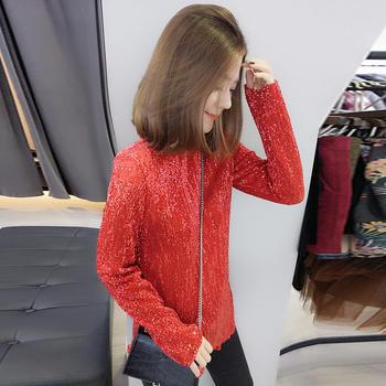BOBOWALTZ修身红色亮片打底T恤