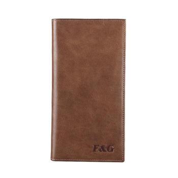F&G梵谷头层软牛皮复古长款钱包简约钱夹棕色皮夹子