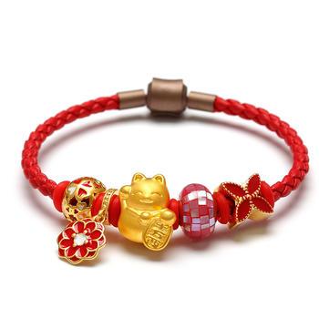 今上珠宝 中国红招财猫黄金手链