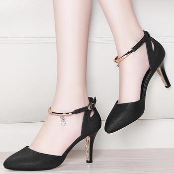 尖头高跟鞋浅口一字扣女单鞋子