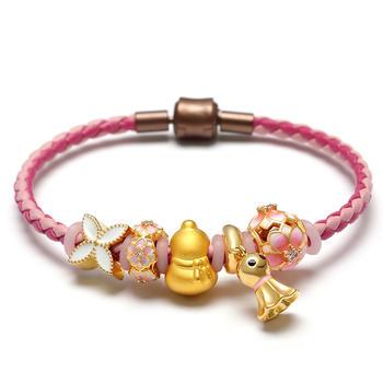 阿梵尼 黄金葫芦足金皮绳手链