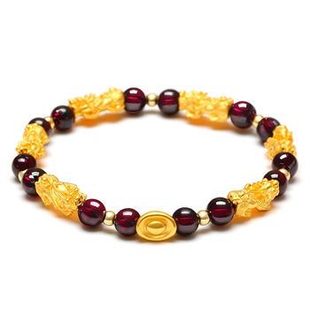 今上珠宝 黄金貔貅石榴石手链
