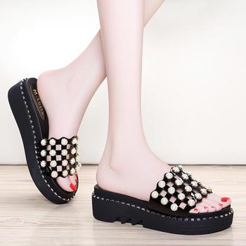 时尚外穿新款女厚底拖鞋