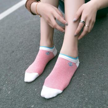 赛棉锚条纹女船袜透气棉袜 5双装