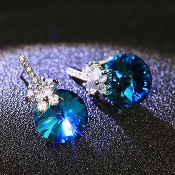 戴拉  925银针时尚大气仿水晶耳环