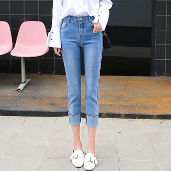 可奈丽莎新款休闲牛仔裤女铅笔裤