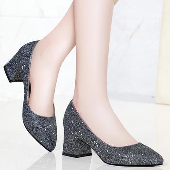 春季单鞋新女中跟时尚女鞋高跟鞋