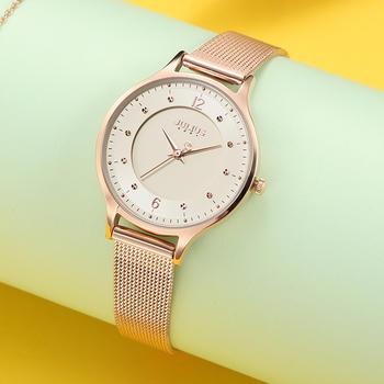 聚利时复古双层表盘石英网带手表