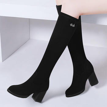 长筒靴高跟及膝靴冬季加绒女靴子