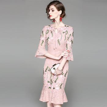 SEEYA/希娅 中长款鱼尾蕾丝连衣裙