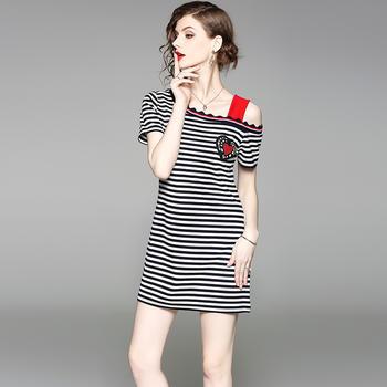 SEEYA希娅 高腰条纹连衣裙吊带裙