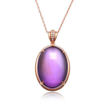 今上珠宝18K金紫水晶吊坠钻石项链
