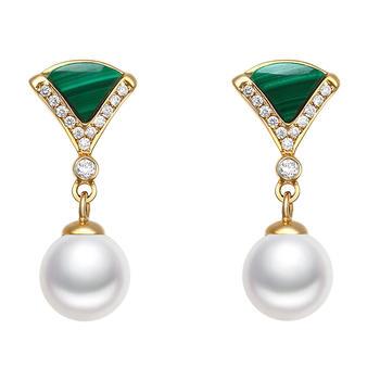 今上珠宝18K金钻石孔雀石珍珠耳钉