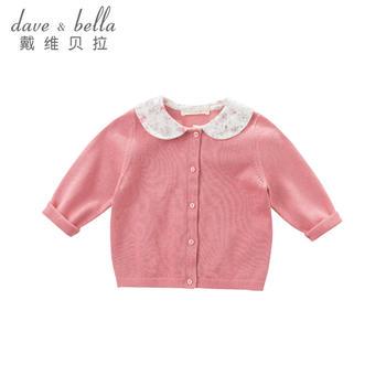 davebella秋季女童新款娃娃领针织衫