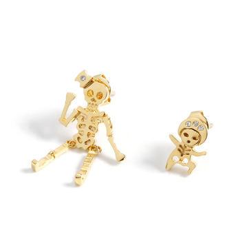 Crocus会跳舞的骷髅耳钉个性创意不对称中性款耳钉52415