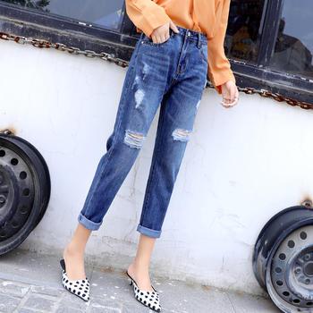 缔诗新款薄款韩版高腰宽松九分裤bf显瘦卷边直筒裤