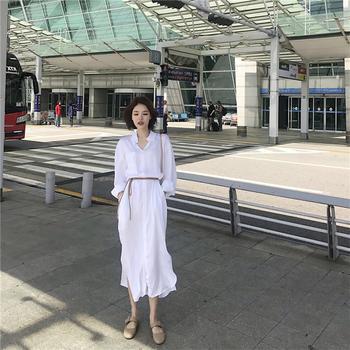 YDMS时尚仙衬衫式长裙连衣裙