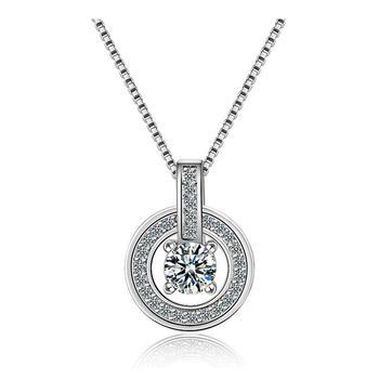 S925银闪耀锆石圆圈锁骨链一款三戴