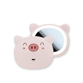 牙小白LED網紅圓鏡子化妝領鏡帶燈櫻花粉紅色系化妝鏡