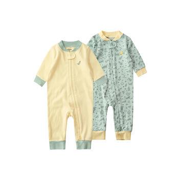 minizone2件装宝宝斜开拉链连体衣
