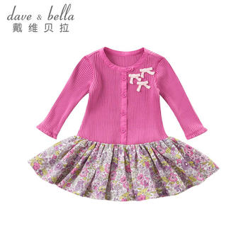 davebella秋季新款女童玫瑰红百褶裙