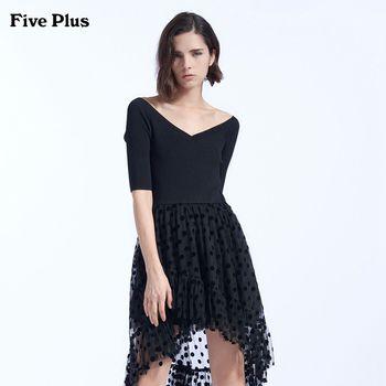 FivePlus2018新款女秋装V领高腰连衣裙波点网纱裙中长款假两件套