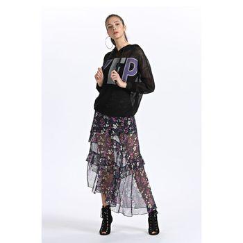 FivePlus2018新款女秋装字母宽松针织衫女卫衣款套头衫连帽长袖