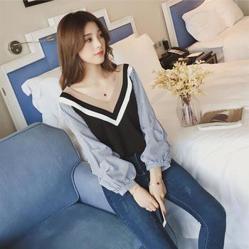 S SKY新款韩版条?#35889;?#33394;灯笼袖衬衫