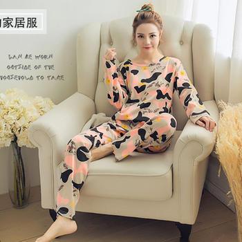 麦晴印花薄款迷彩长袖家居服套装